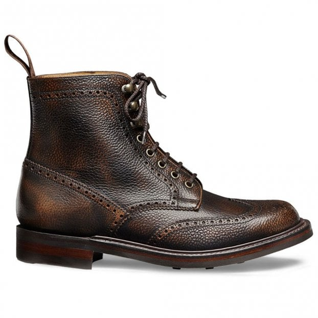 Cheaney Olivia R Wingcap Brogue Boot in Bronze Grain Leather