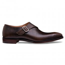 Oxted Single Buckle Monk Shoe in Burgundy Grain Leather