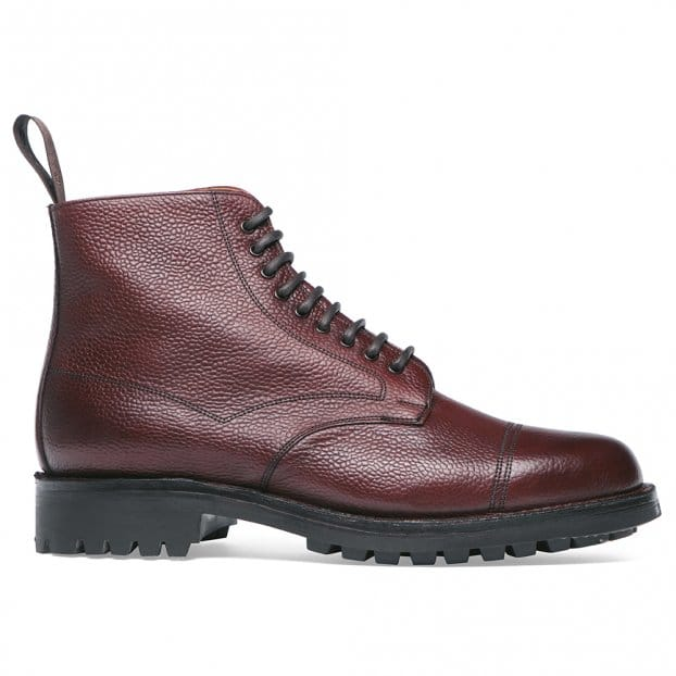 Cheaney Pennine II R Veldtschoen Country Derby Boot in Burgundy Grain Leather