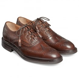 Pitlochry Ghillie Tie Kilt Brogue Shoe in Mocha Calf Leather