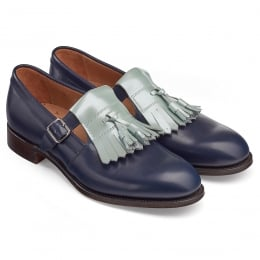 Pixie Ladies Tassled T-Bar in Mint Patent/Burnished Navy Calf Leather
