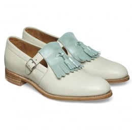 Pixie Ladies Tassled T-Bar in Mint Patent/Ivory Calf Leather