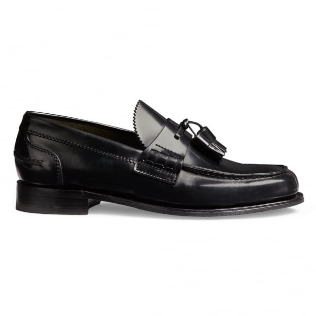 Cheaney Polly Ladies Loafer in Black Hi-Shine Leather