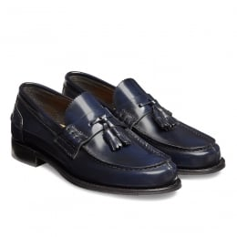 Polly Ladies Loafer in Navy Rub Off Leather