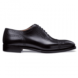 Raleigh Oxford Semi Brogue in Black Calf Leather