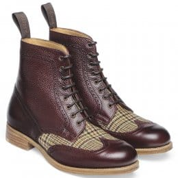Rebecca Ladies Wingcap Derby Brogue Boot in Burgundy Grain Leather/Moons Glen Fabric
