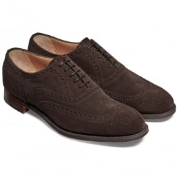 Regent Oxford Brogue in Brown Soft Suede