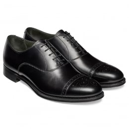 Rushton Oxford Semi Brogue in Black Calf Leather