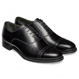 Rushton Oxford Semi Brogue in Black Calf Leather