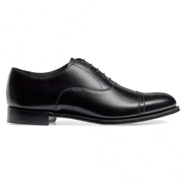 Cheaney Rushton Oxford Semi Brogue in Black Calf Leather