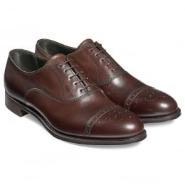 Rushton Oxford Semi Brogue in Mocha Calf Leather