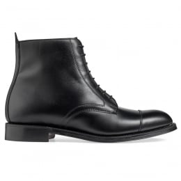 Sadie Ladies Derby Cap Boot in Black Calf Leather