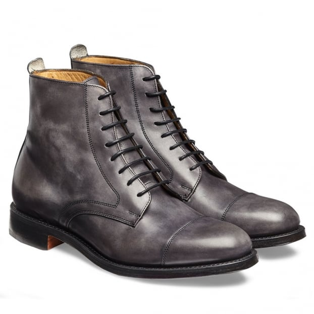 Cheaney Sadie Ladies Derby Cap Boot in Charcoal Calf Leather