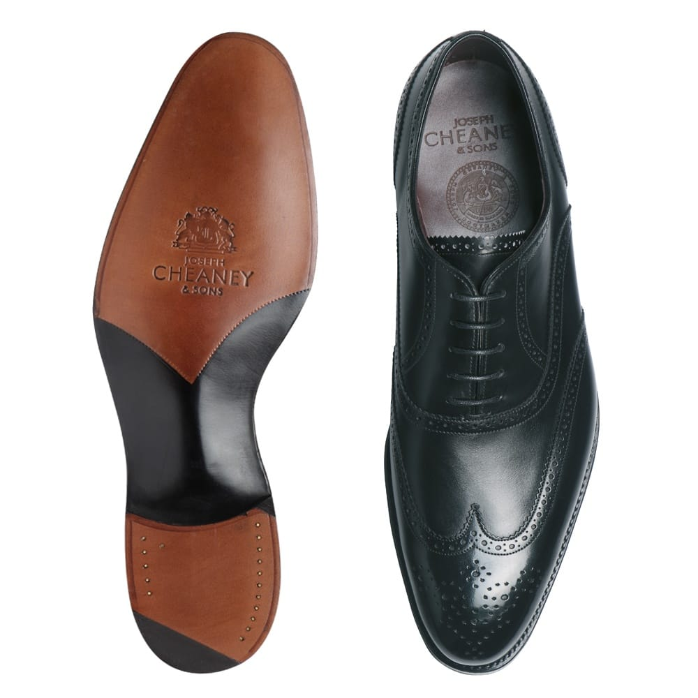 Cheaney Sandringham| Black Wingtip Oxford Brogues | Hand Made In England