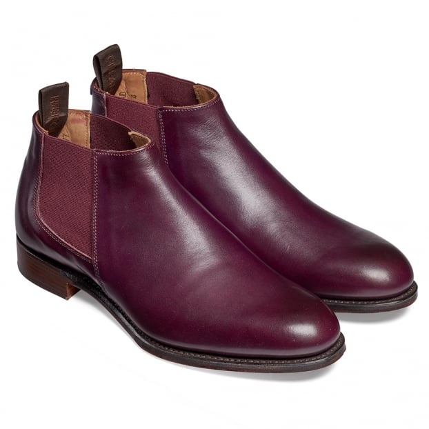 Cheaney Scarlett Ladies Low Cut Chelsea Boot in Burnished Aubergine Calf Leather