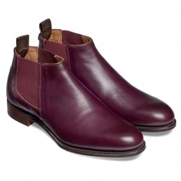 Scarlett Ladies Low Cut Chelsea Boot in Burnished Aubergine Calf Leather