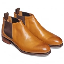 Scarlett Ladies Low Cut Chelsea Boot in Burnished Original Chestnut Calf Leather