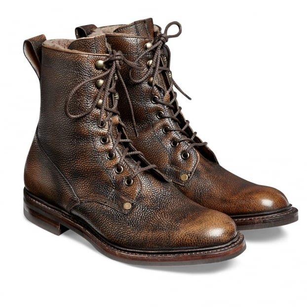 Cheaney Scott R Fur Lined Country Derby Boot in Bronze Rub Off Grain Leather