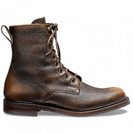 Scott R Fur Lined Derby Boot in Bronze Rub Off Grain Leather