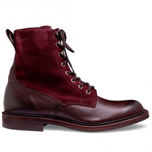 Cheaney Scott R Fur Lined Derby Boot in Burgundy Grain Leather and Plum Suede