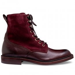 Scott R Fur Lined Derby Boot in Burgundy Grain Leather and Plum Suede