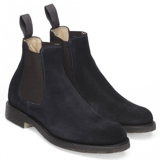 cheaney godfrey d navy suede chelsea boot made in
