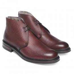 Shackleton R Fur Lined Chukka Boot in Burgundy Grain Leather