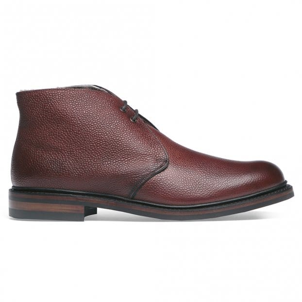 Cheaney Shackleton R Fur Lined Chukka Boot in Burgundy Grain Leather