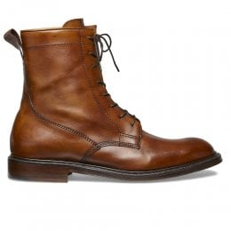 Spencer Derby Boot in Burnished Dark Leaf Calf Leather