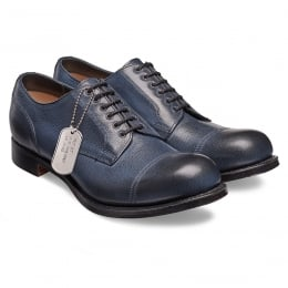 Spitfire II Military Style Derby in Navy Goat Skin