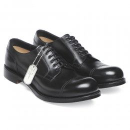 Spitfire Military Style Derby in Black Calf Leather