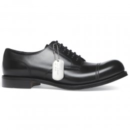 Spitfire R Military Style Derby in Black Calf Leather | Dainite Rubber Sole