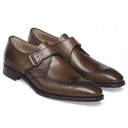 Taunton Single Buckle Monk Shoe in Mahogany Calf Leather