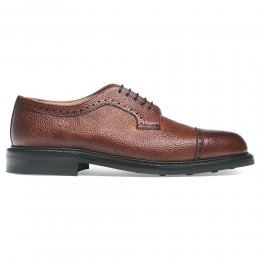 Tenterden Capped Derby Brogue in Mahogany Grain Leather