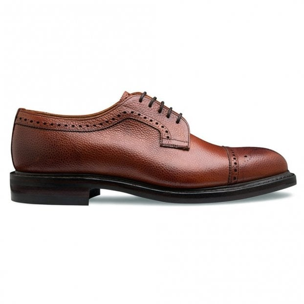 Cheaney Tenterden II Capped Derby Brogue in Mahogany Grain Leather