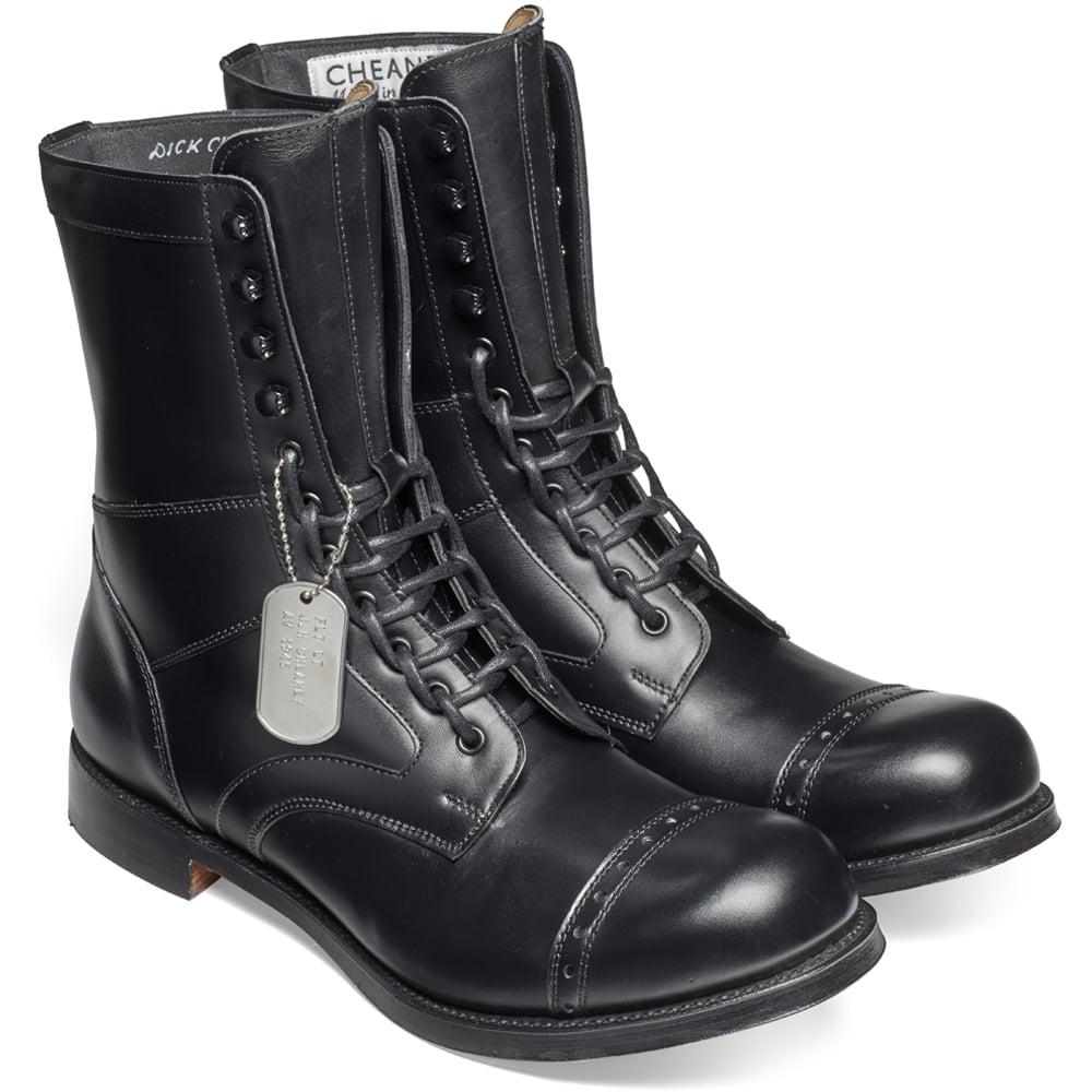 03da7572099cb Cheaney Tiger Moth II Military Style Mid Calf Boot in Black Calf Leather