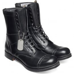 Tiger Moth II Military Style Mid Calf Boot in Black Calf Leather