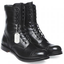 Tiger Moth Military Style Mid Calf Boot in Black Calf Leather