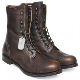 Tiger Moth Military Style Mid Calf Boot in Copper Goat Skin