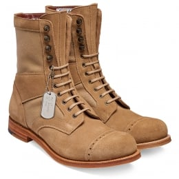 Tiger Moth Military Style Mid Calf Boot in Sughero Suede/Sand Canvas