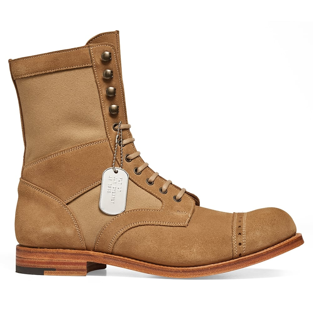 Cheaney Tiger Moth Military Style Mid Calf Boot in Sughero Suede/Sand Canvas