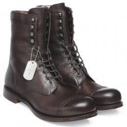 Tiger Moth Military Style Mid Calf Boot in Walnut Grain Leather