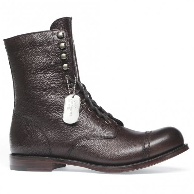 Cheaney Tiger Moth Military Style Mid Calf Boot in Walnut Grain Leather