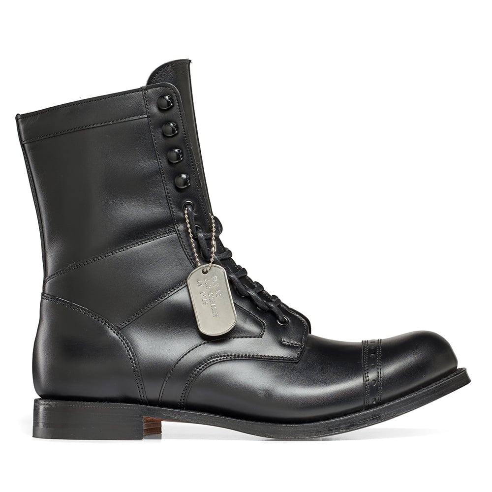 0d6d292986c Cheaney Tiger Moth R Military Style Mid Calf Boot in Black Calf Leather