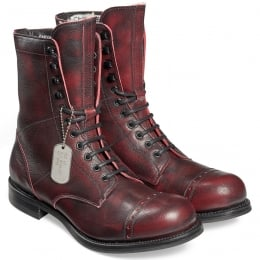 Tiger Moth R Military Style Mid Calf Boot in Black Cherry Goat Skin