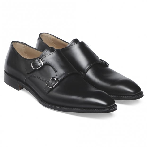 Cheaney Tiverton Double Buckle Monk Shoe in Black Calf Leather