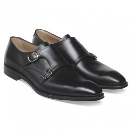 Tiverton Double Buckle Monk Shoe in Black Calf Leather