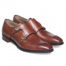 Tiverton Double Buckle Monk Shoe in Dark Leaf Calf Leather
