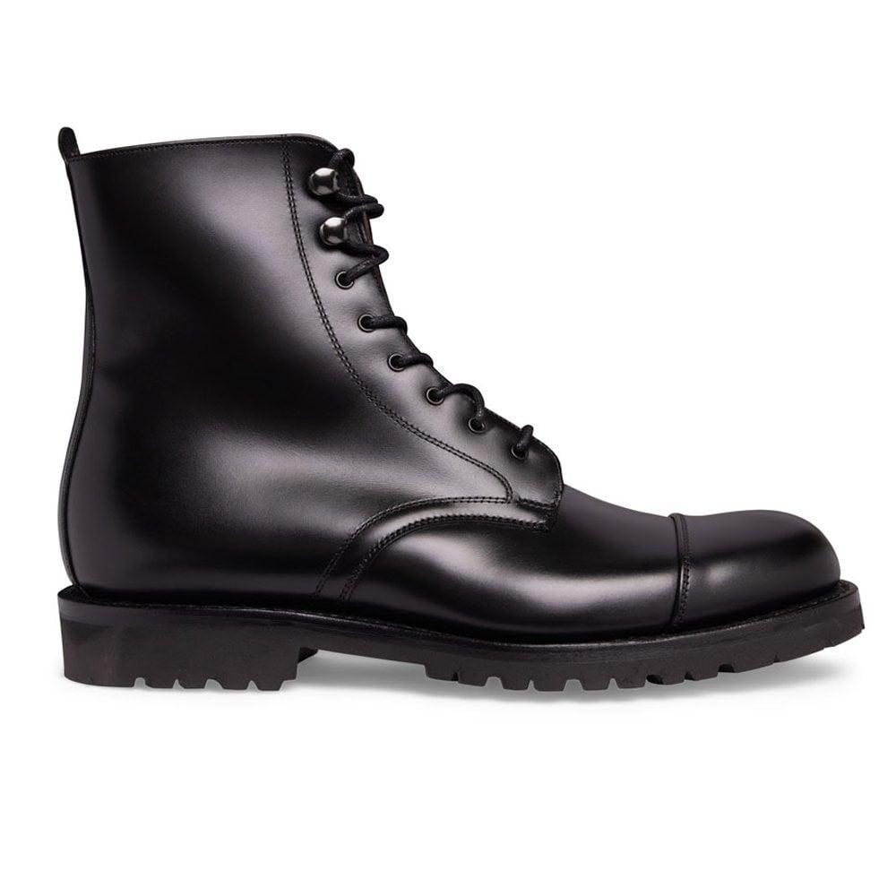 b28f9d276566 Trafalgar Capped Derby Boot in Black Calf Leather