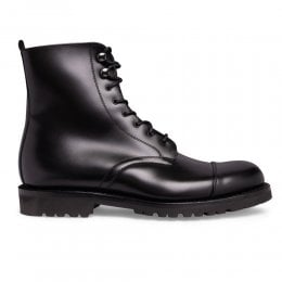 Trafalgar Capped Derby Boot in Black Calf Leather